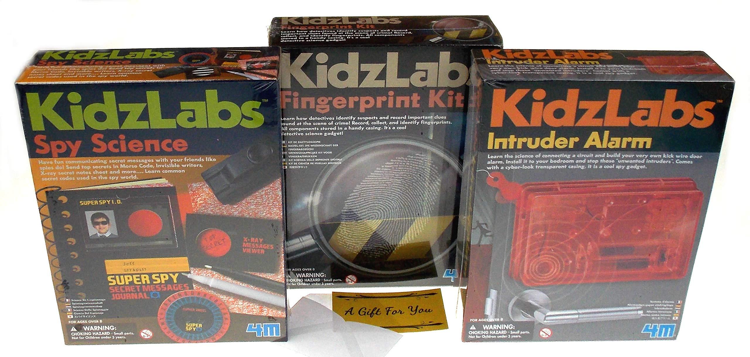 Hickoryville KidzLabs Science Bundle - Intruder Alarm, Fingerprint Kit, Spy Secret Message by Hickoryville