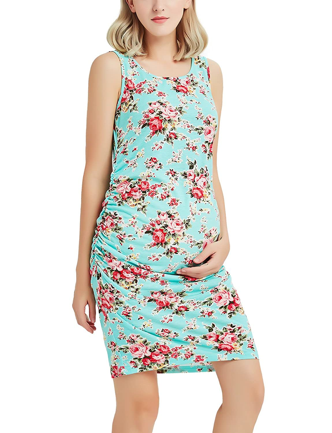 Bhome APPAREL レディース B07D26JZYS Large|Green With Red Flower Green With Red Flower Large