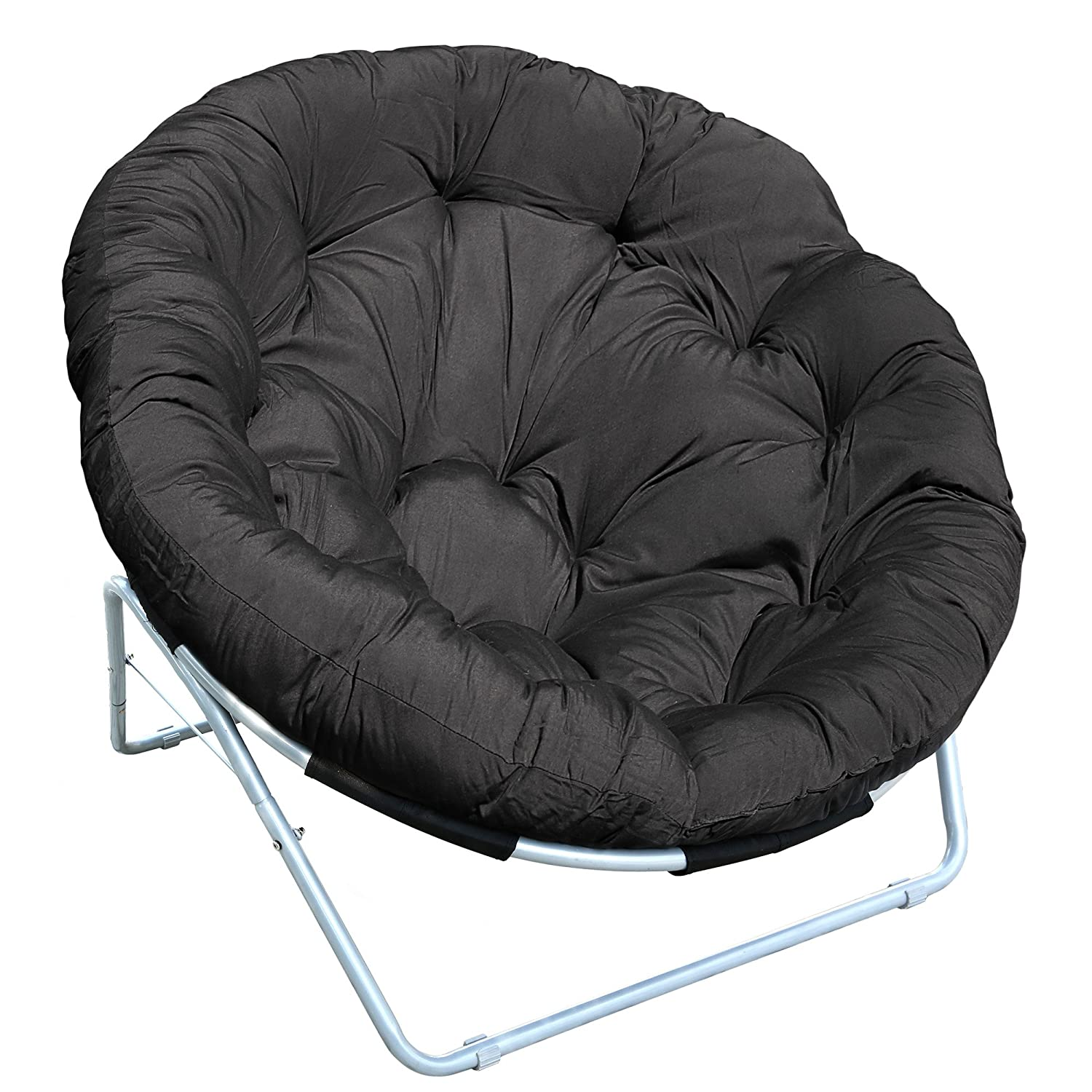 Cravog Outdoor Yard Moon Chair Round Cushion Padded Papasan Chair