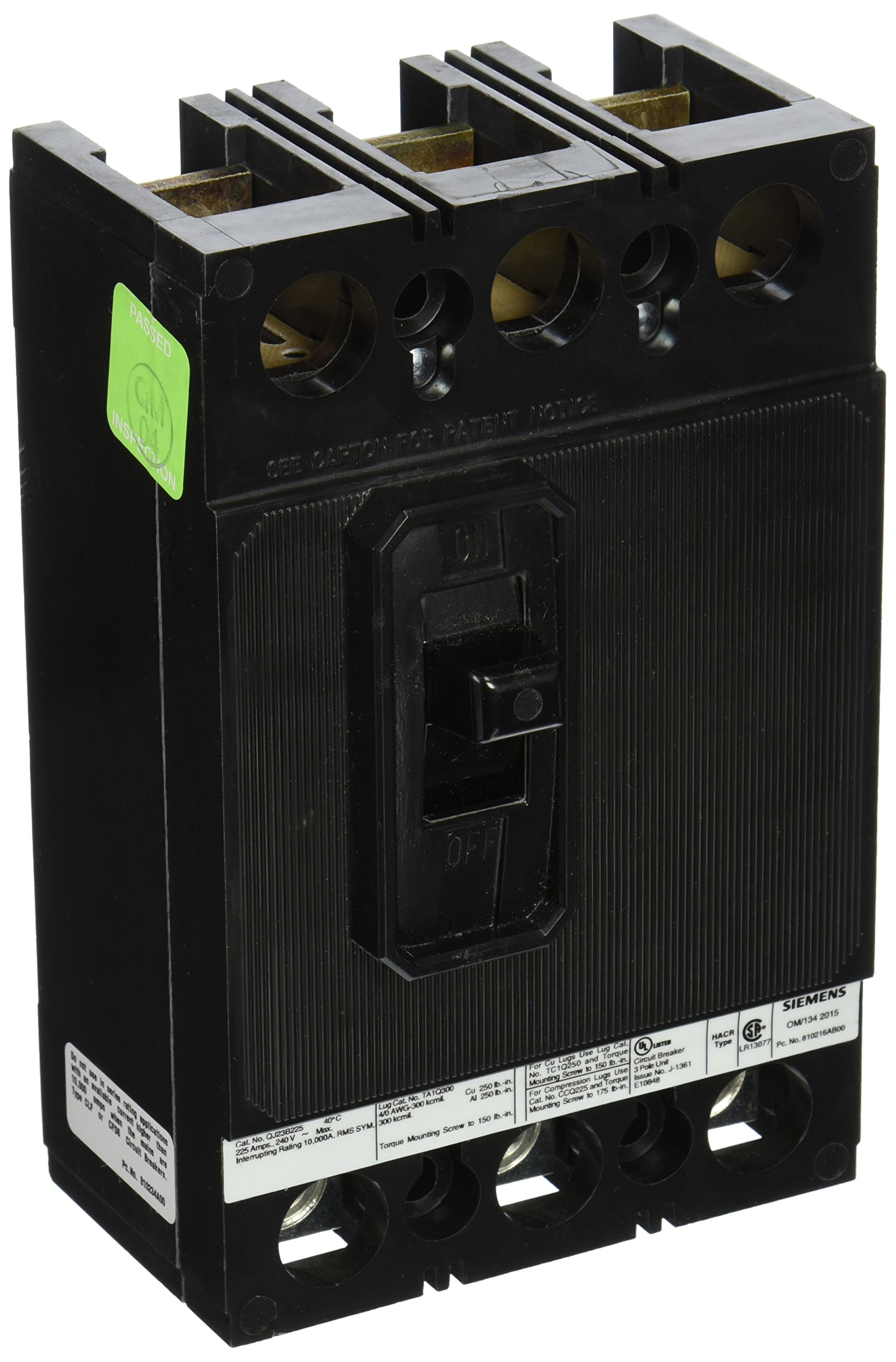 Siemens QJ23B225 225-Amp Three Pole 240-Volt 10KIAC Breaker