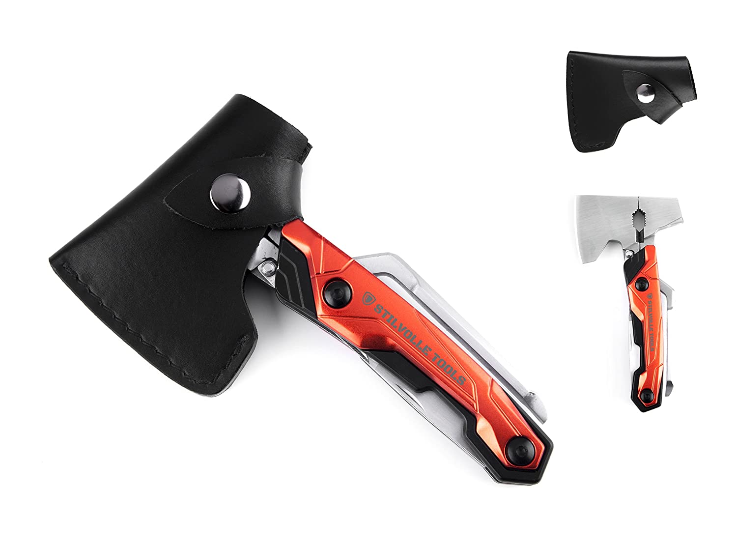Stilvolle tools Axe 9 ax with 9-Featured Multi-Tool Hammer, Wrench, Wire Cutter, ax, Bottle Opener, Phillips Screwdriver, Flat-Blade Screwdriver, Nail File, Saw, Knife