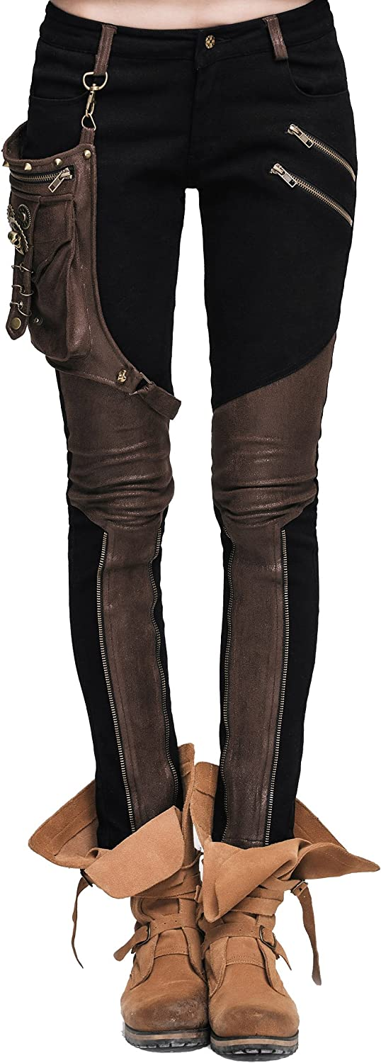Devil Fashion Steampunk Pantalones de Mujer con un Bolsillo de Cuero Gothic Pencil Pants Vintage Stitching Leggings