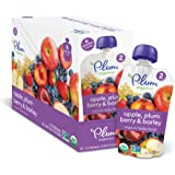 Plum Organics Stage 2, Organic Baby Food, Apple, Plum, Berry and Barley, 3.5 ounce pouch (Pack of 12)