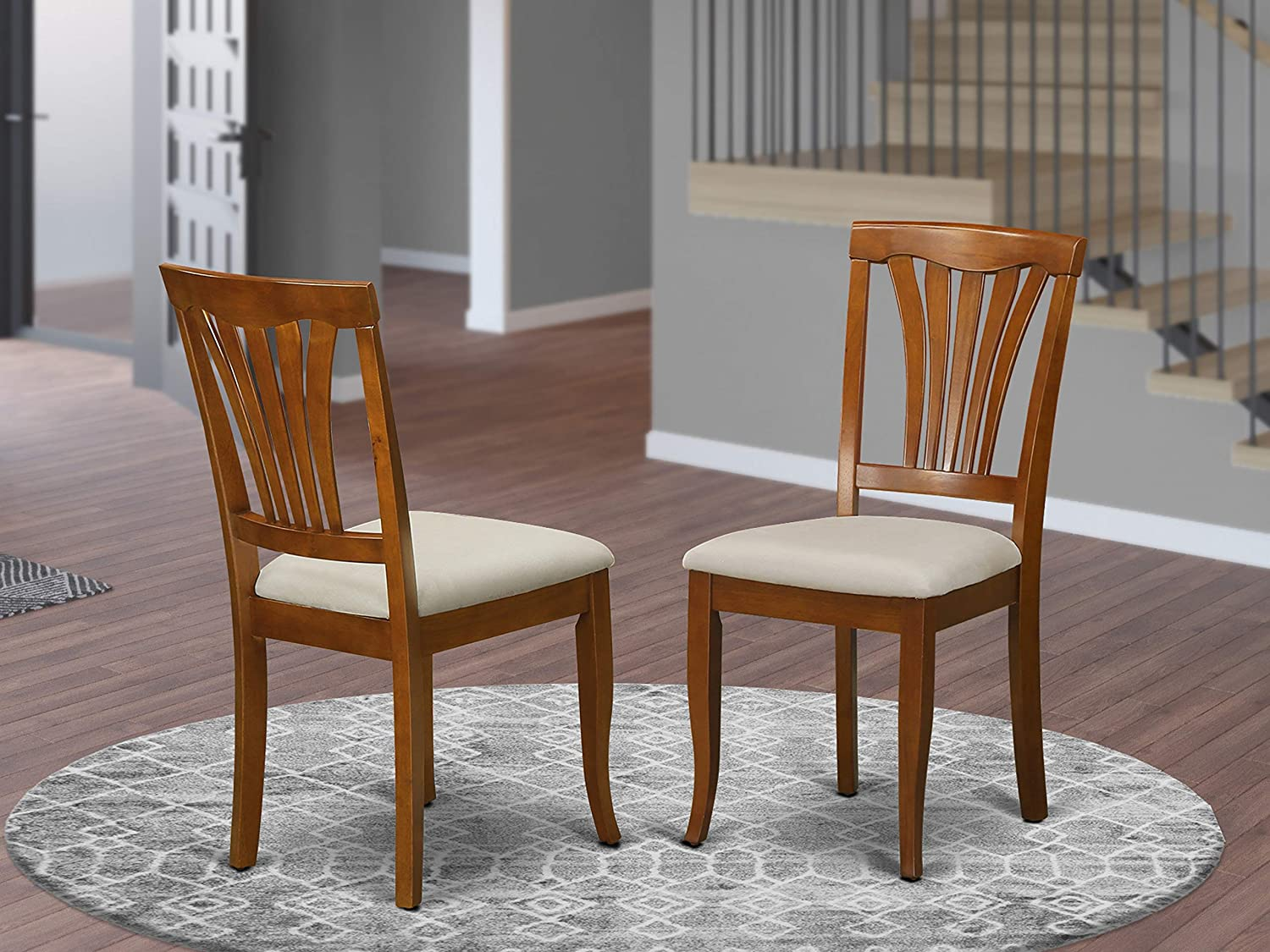 Avon Chair for dining room with Microfiber Upholstered Seat – Saddle Brow Finish