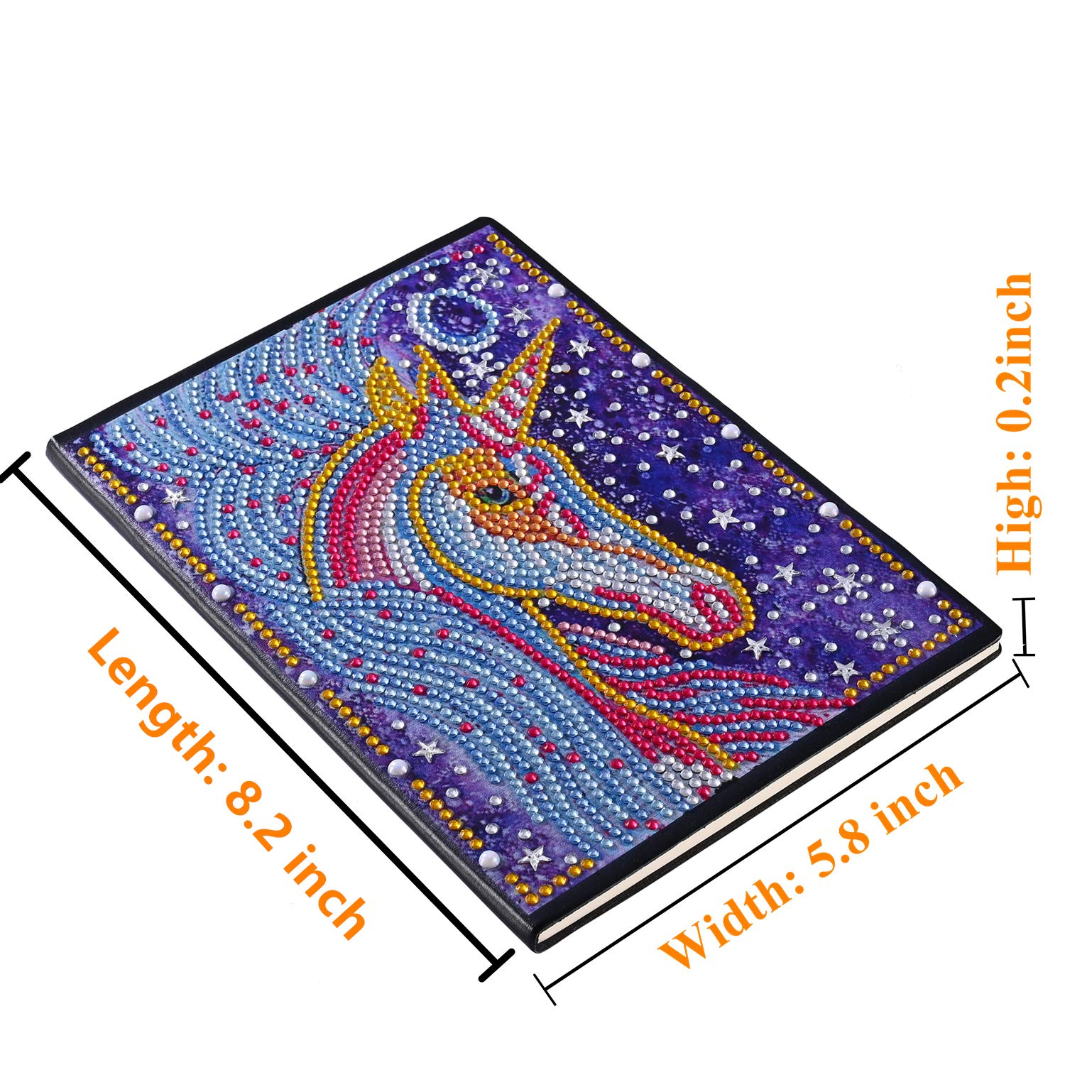 Lxmsja Diamond Painting Notebook DIY Journal with Special Shaped Diamond Cover Diamond Art Diary 100 Pages//50 Sheets A5 Plain//Blank Book Horse