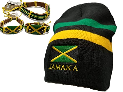 b4654ae0238 Image Unavailable. Image not available for. Color  BUNFIREs 2pcs. Jamaica  Flag Reggae Rasta Leather Bracelet Wrist Band Bracelets Jamaican Flag Beanie