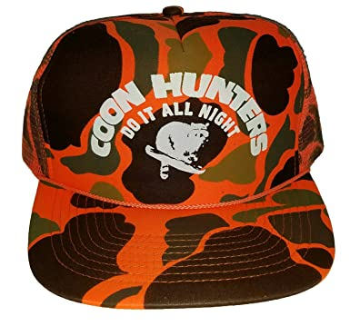 5376e9738b6cbc Image Unavailable. Image not available for. Color: ThatsRad Orange Blaze  Camouflage Coon Hunters Do It All Night Mesh Trucker Hat Cap Snapback