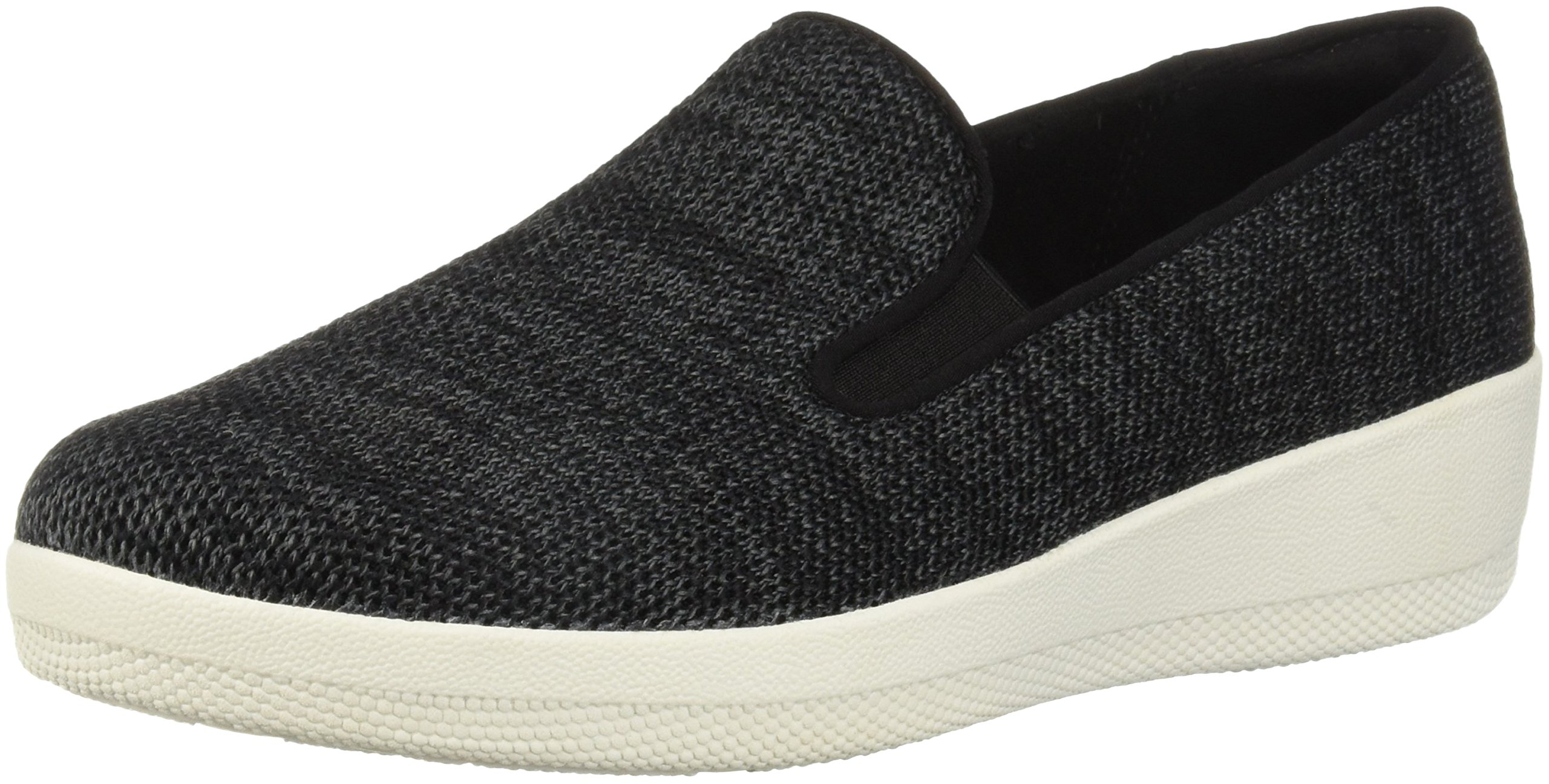 FitFlop Women's Superskate Uberknit Loafers, Black/Soft Grey, 8.5 M US