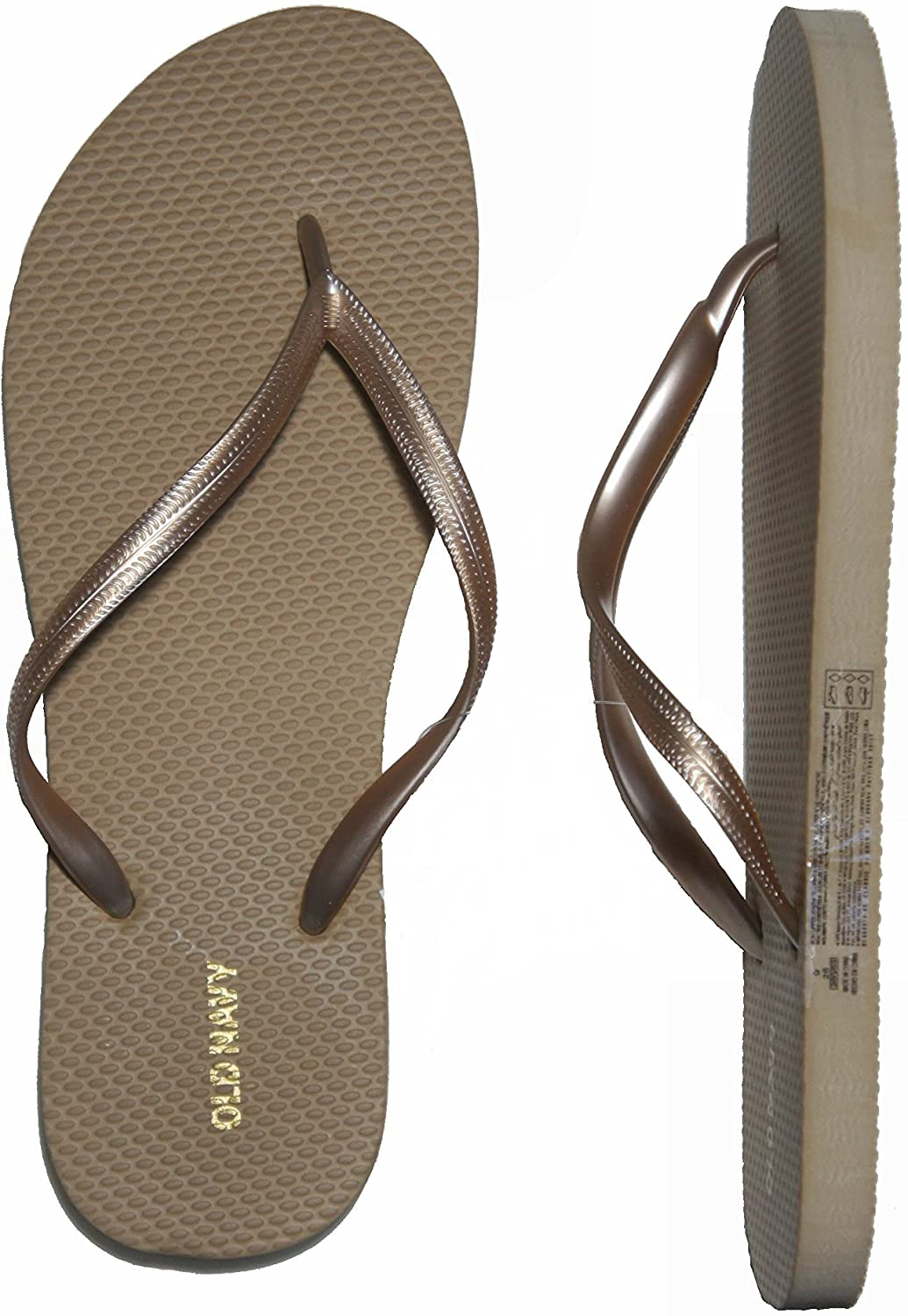 Old Navy Flip Flop Sandals for Woman, Great for Beach or Casual Wear (9, Dk.