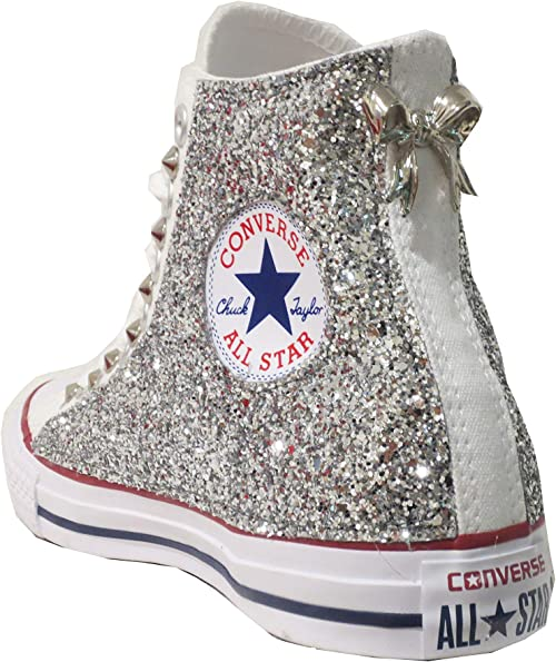 Accessoriato Converse all Star Alte Glitter Argento Bianco Optical