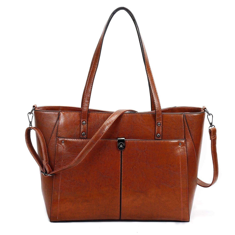 SIFINI Women PU Leather Large Shoulder Bag New Style Ladies Purse Handbag Messenger Bag Tote Bags (brown)