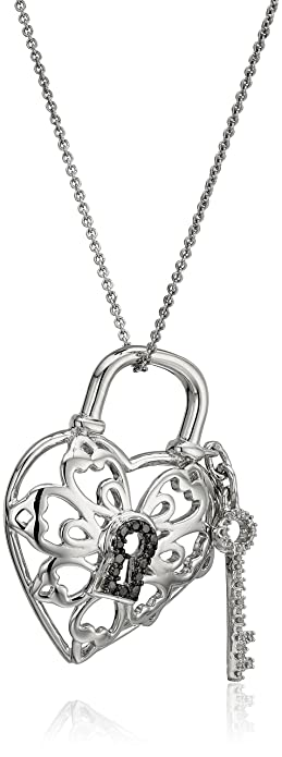 lock key diamond silver amazon sterling pendant and deals heart