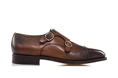 b1e4d06e5a4d0 SANTONI Scarpe Brushed Leather Double Monk-Strap-43.5 Uomo Marrone   Amazon.it  Scarpe e borse