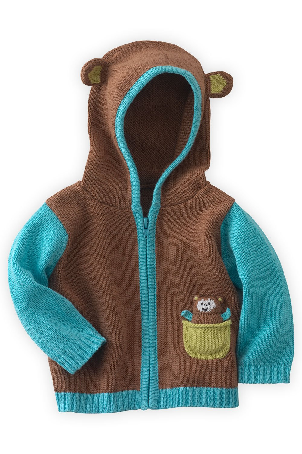 Joobles Organic Baby Cardigan Sweater - Mel The Monkey (12-18 Mos) Brown by Joobles