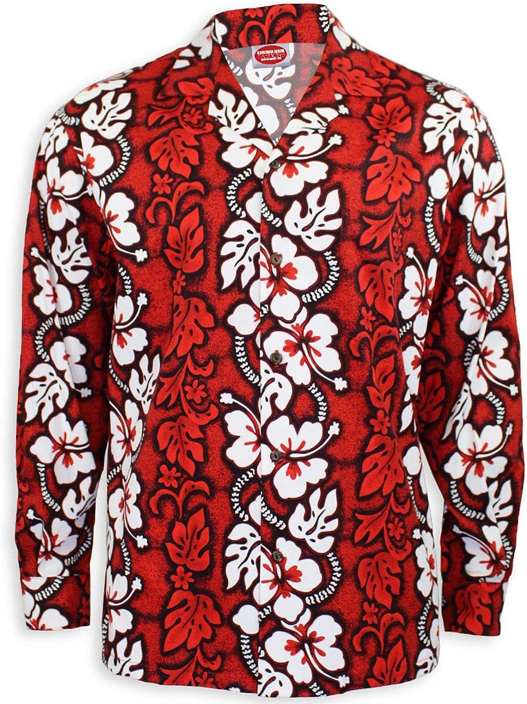 Hawaiian Aloha Fashions Roja de manga larga blanca del hibisco camisa hawaiana rojo grande de los hombres: Amazon.es: Ropa y accesorios