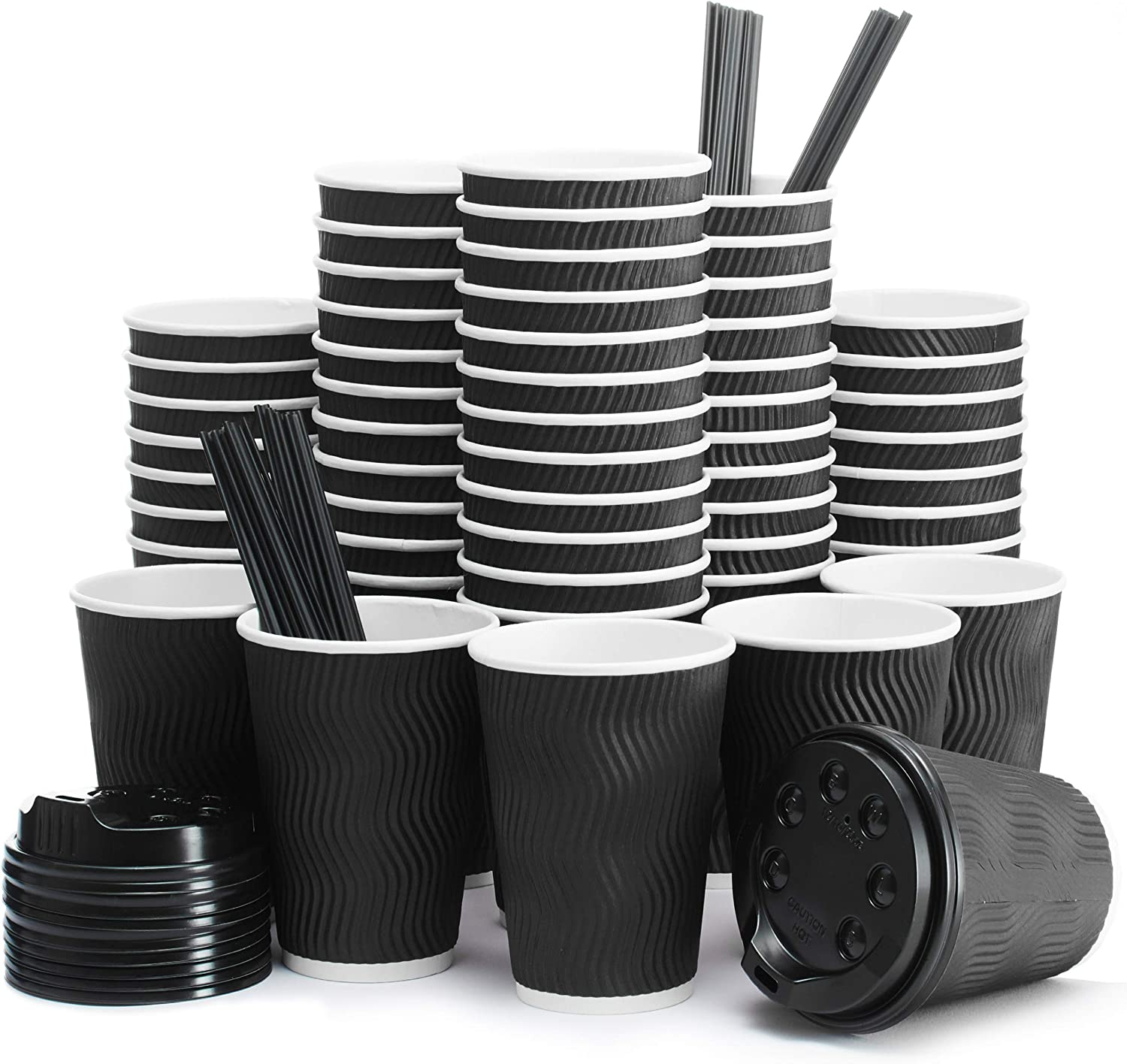 Insulated Disposable Coffee Cups with Lids & Straws 12 oz, 100 Packs - Paper Cups for Hot Beverage Drinks To Go Tea Coffee Home Office Car Coffee Shop Party (Black)