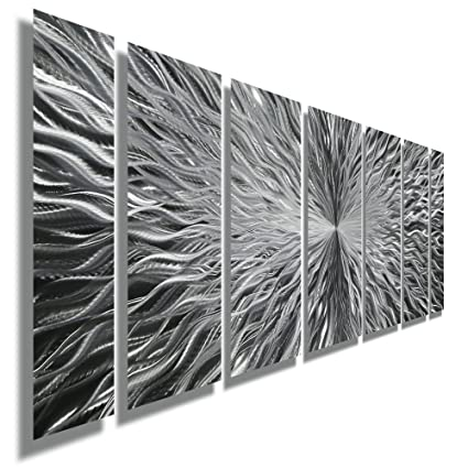 Amazon.com: Silver Contemporary Metal Wall Art - Abstract Home Decor ...