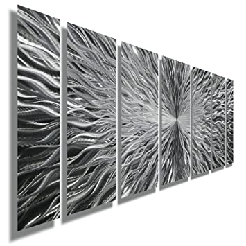 Silver Contemporary Metal Wall Art - Abstract Home Decor Accent, Modern  Panel Wall Art - Vortex by Jon Allen