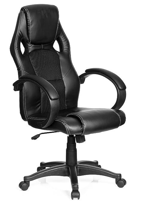 mybuero Gaming silla/oficina silla Gaming Zona Pro Piel Sintética/Red Negro