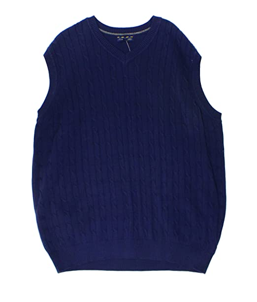 e2ef5af0dfe9 Image Unavailable. Image not available for. Color: Club Room Navy Mens  Cable-Knit Ribbed Sweater Vest Blue ...