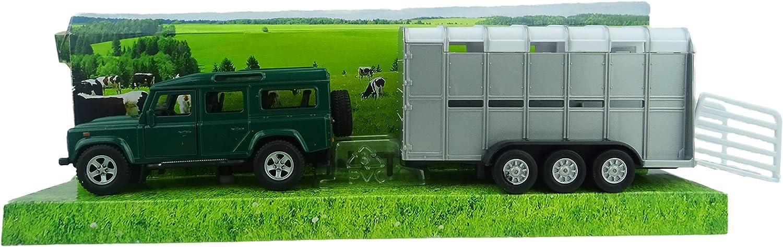 TOYLAND Land Rover Defender con Ganado Trailer - Ganadería Transporte (BT156) Verde [Toy]