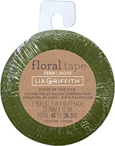 Lia Griffith PLG1491 Craft Stem Tape, Fern and Moss, 40 Total Yards, 2 Pack