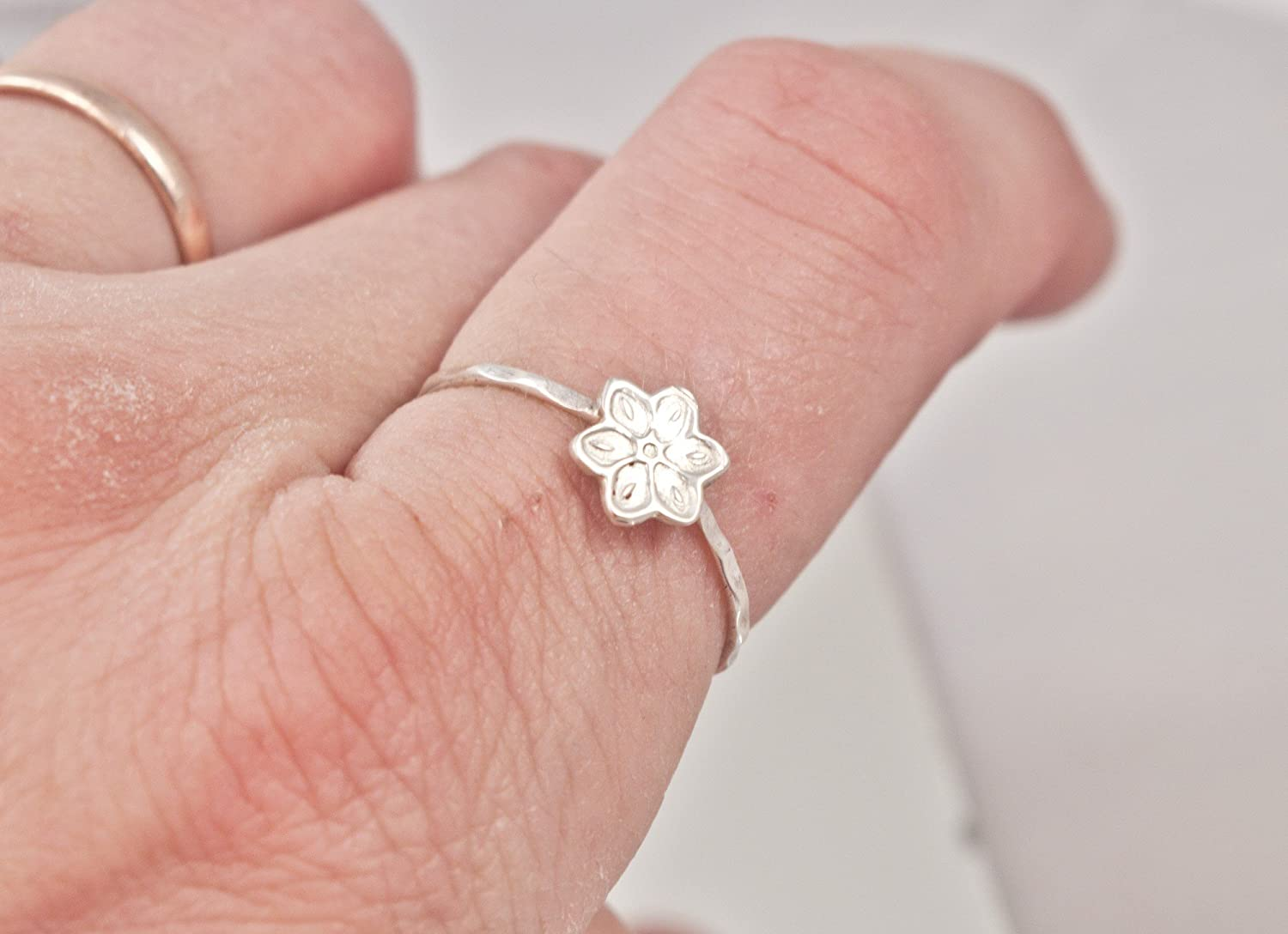 Amazon.com: Lily ring - flower ring - skinny ring - sterling silver ...