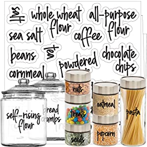 Talented Kitchen Script Pantry Labels – 57 Main Ingredients – Food Pantry Label Sticker. Water Resistant Food Jar Labels. Jar Decals Pantry Organization Storage (Set of 57 – Main Script Pantry)