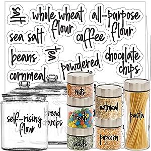 Talented Kitchen Script Pantry Labels – 57 Main Ingredients – Food Pantry Label Sticker. Water Resistant Food Jar Labels. Jar Decals Pantry Organization Storage (Set of 57 – Main Script Pantry)