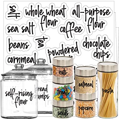 Script Pantry Labels – Main Ingredients Food.Label Sticker Set by Talented Kitchen. Script Design Clear Water Resistant, Food & Spice Jar Labels for Pantry Organization and Storage (Set of 57- Script)