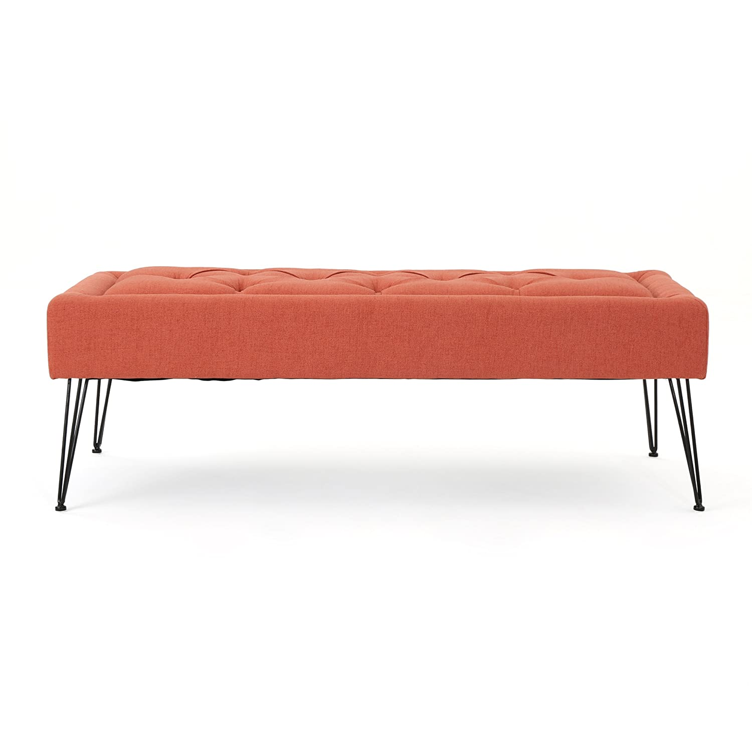 Christopher Knight Home 303232 Zyler Tufted Dark Salmon Fabric Ottoman,