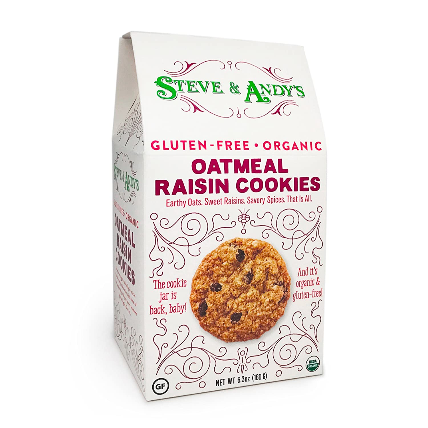 Organic Oatmeal Raisin Cookies, Gluten Free by Steve and Andys -- Soft, and Chewy Cookie, Non GMO, No Corn Syrup, No Tree Nuts, Kosher (Oatmeal ...