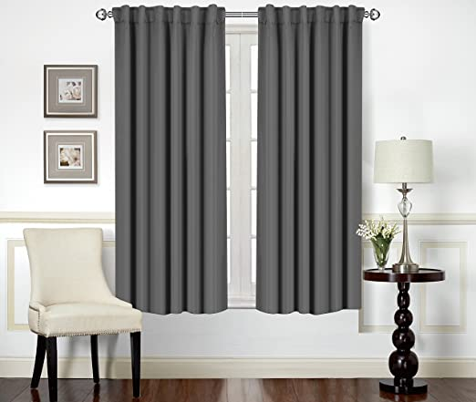 Amazon.com: Blackout Room Darkening Curtains Window Panel Drapes  Grey 2  Panel Set 52x63 Inch   By Utopia Bedding: Home U0026 Kitchen