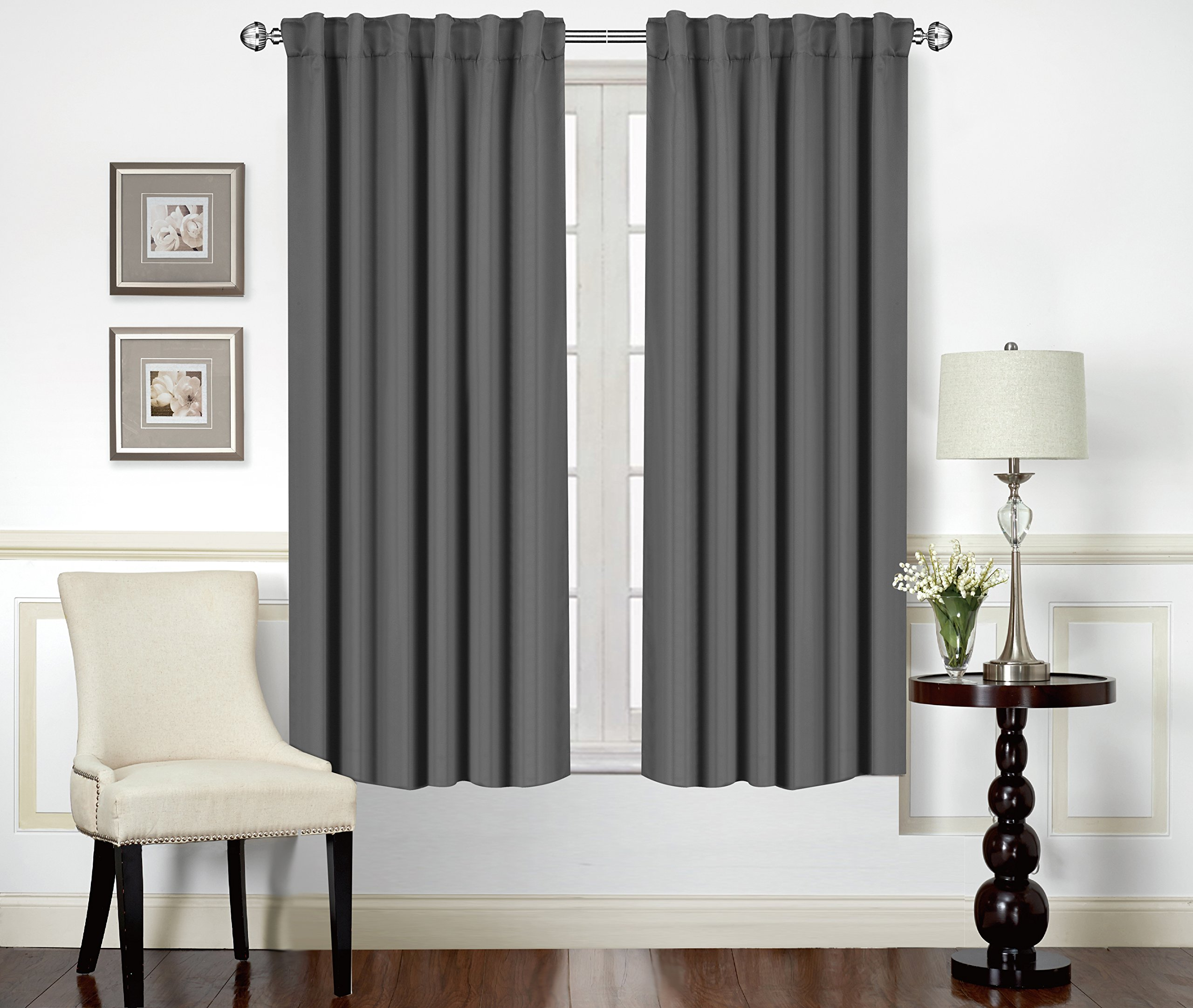 Blackout Room Darkening Curtains Window Panel Drapes -Grey