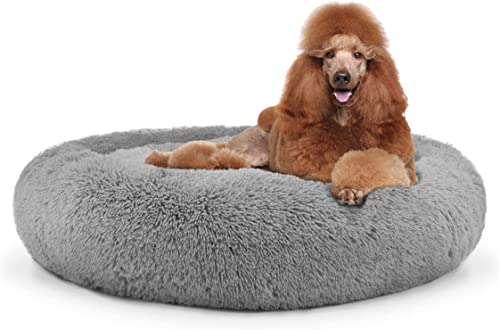The Dog s Bed Sound Sleep Donut Dog Bed, XL Silver Grey Plush Removable Cover Premium Calming Nest Bed