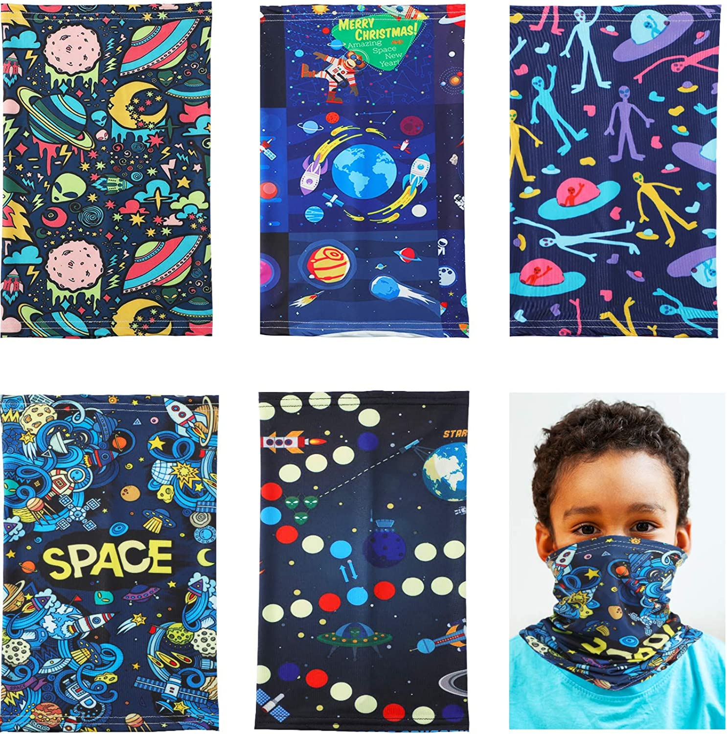 5 Pieces Kids Neck Gaiters Face Cover Space Pattern Balaclava Bandanas for Hiking Cycling Travel