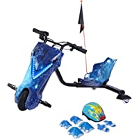 Toy&Joy Drifting Electric Scooter Blue with Helmet Pad Set, Knee and Elbow Pads 36V, KD06(36v)