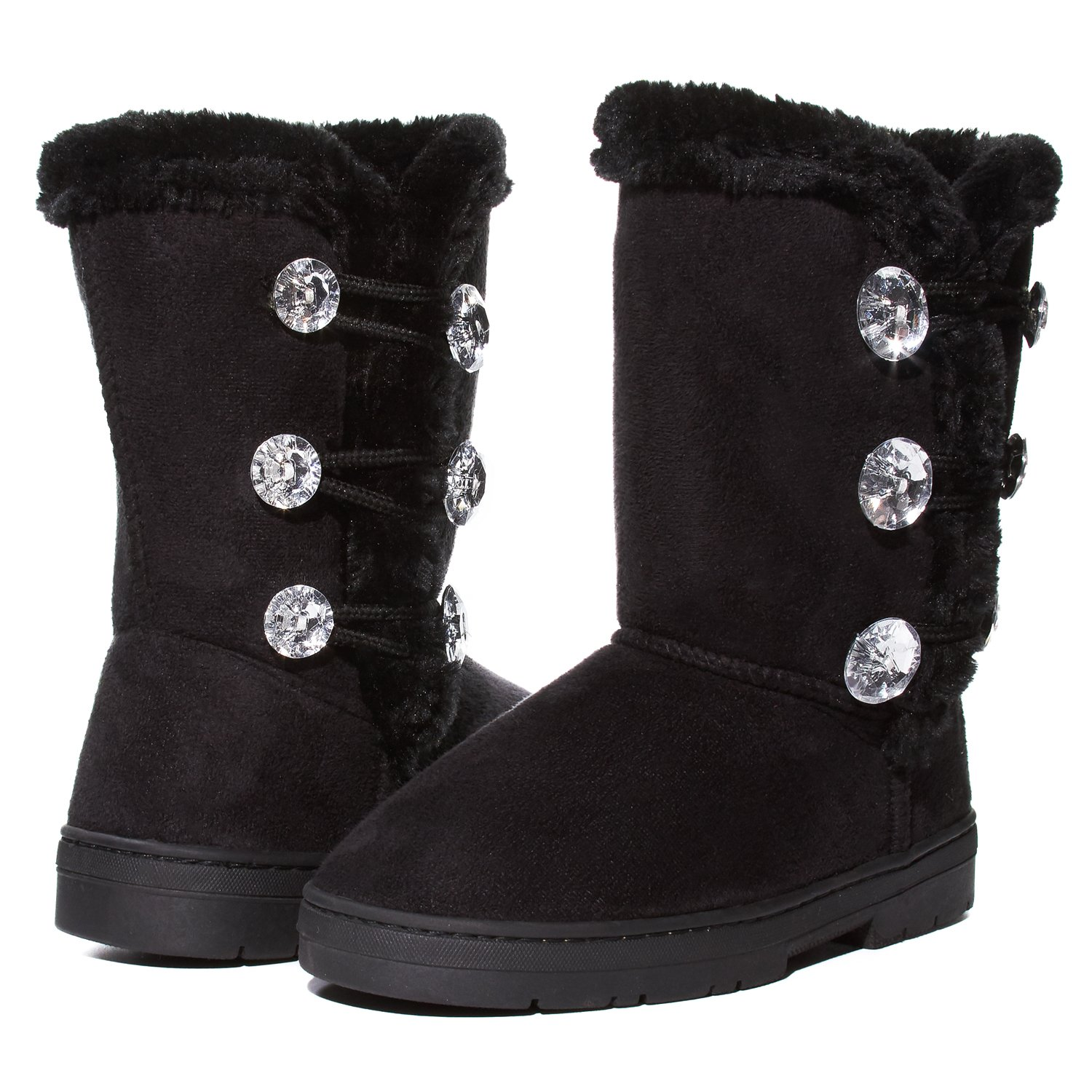 Girls Winter Boots Size 11 with Sparkling Rhinestones and Fur Trims Shoes Black/Gold