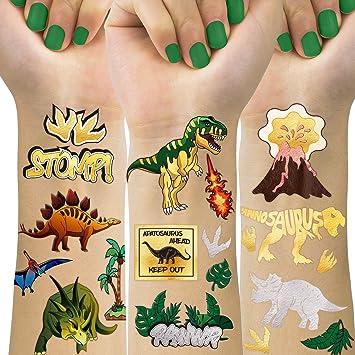 Amazon.com: Tatuajes temporales de dinosaurio para niños, 4 ...