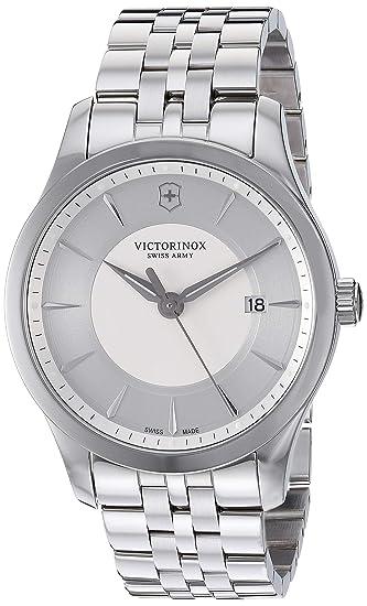 1166bba5a Victorinox Men's Alliance Stainless Steel Swiss-Quartz Leather Strap,  Black, 19.5 Casual Watch