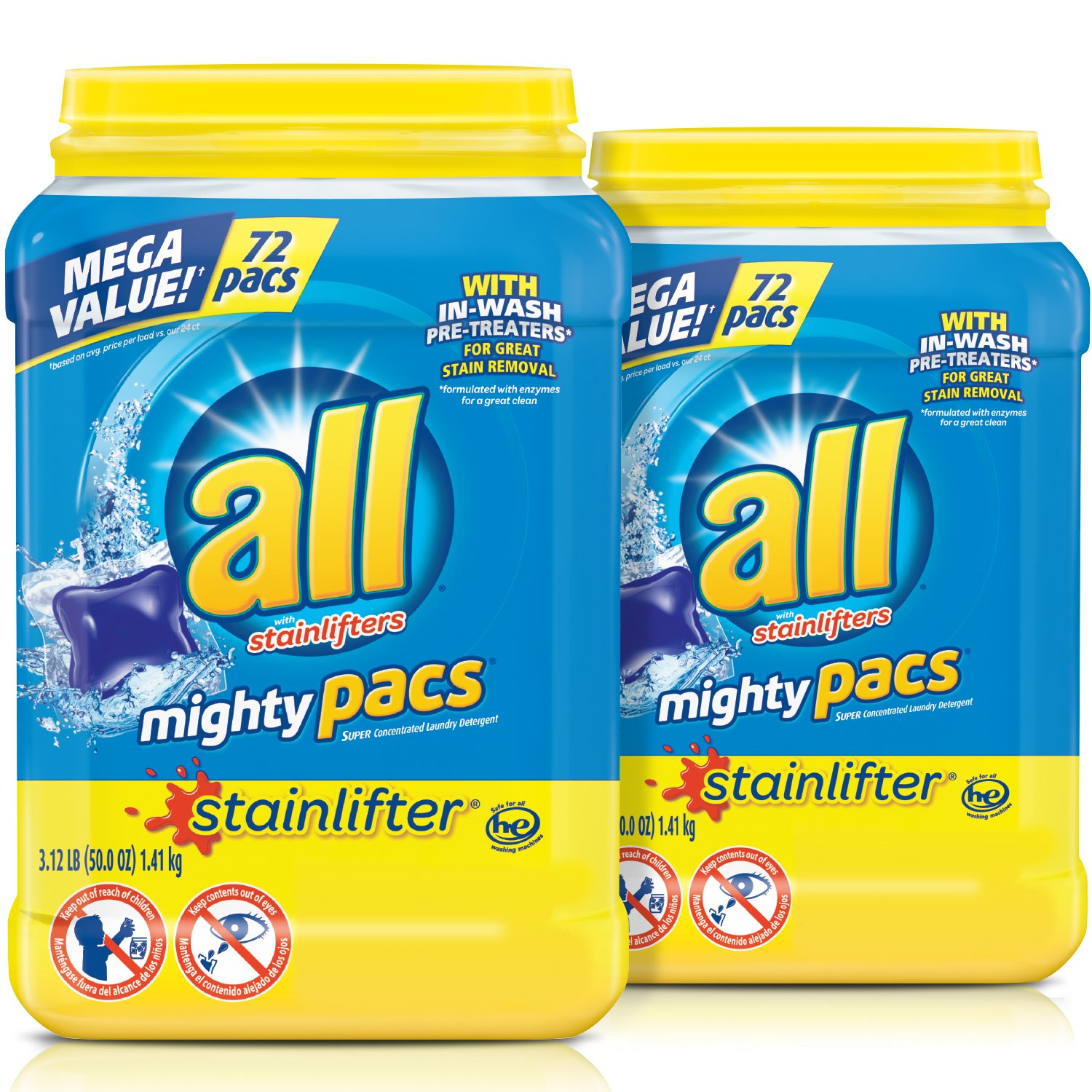 all Mighty Pacs Laundry Detergent, Stainlifter, 72 Count, 2 Tubs, 144 Total Loads by All (Image #1)