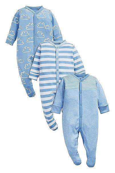 next Bebé Niño Pack De Tres Pijamas Tipo Pelele con Rayas Y Nubes (0 Meses - 2 Años) Azul Claro 1.5-2 años: Amazon.es: Ropa y accesorios