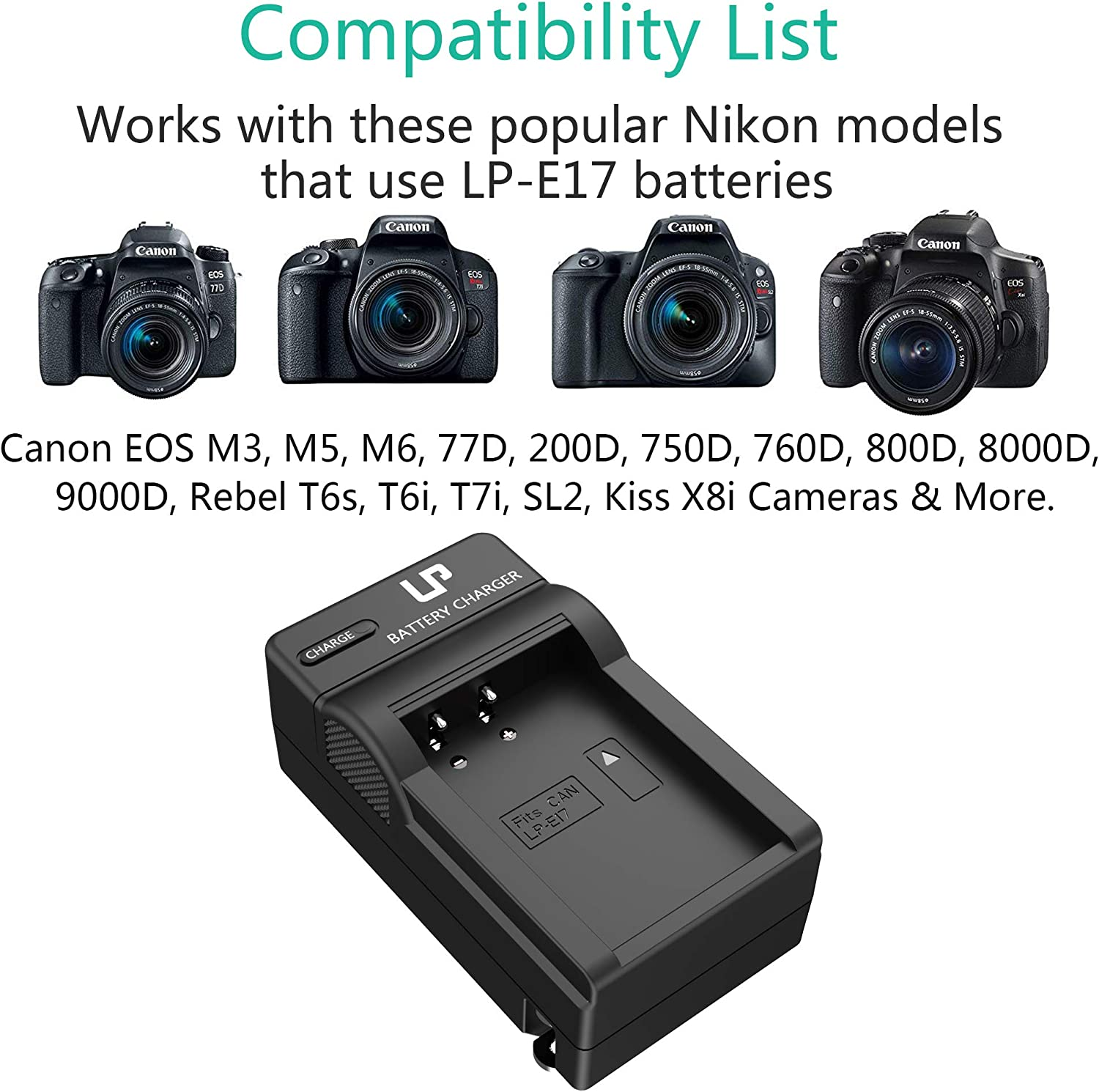 LP LP-E17 Battery Charger, Compatible with Canon EOS Rebel T7i, T6i, T6s, SL3, SL2, 77D, 9000D, 8000D, 800D, 760D, 750D, 200D, M6, M5, M3, Kiss X8i ...
