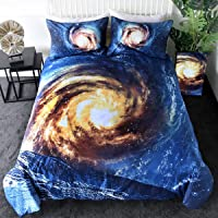 Sleepwish 3D Whirlpool Galaxy Bedding Universe Blue Gold Quilt Cover 3 Pieces Cosmic Vortex Duvet Cover Psychedelic Space Home Decor