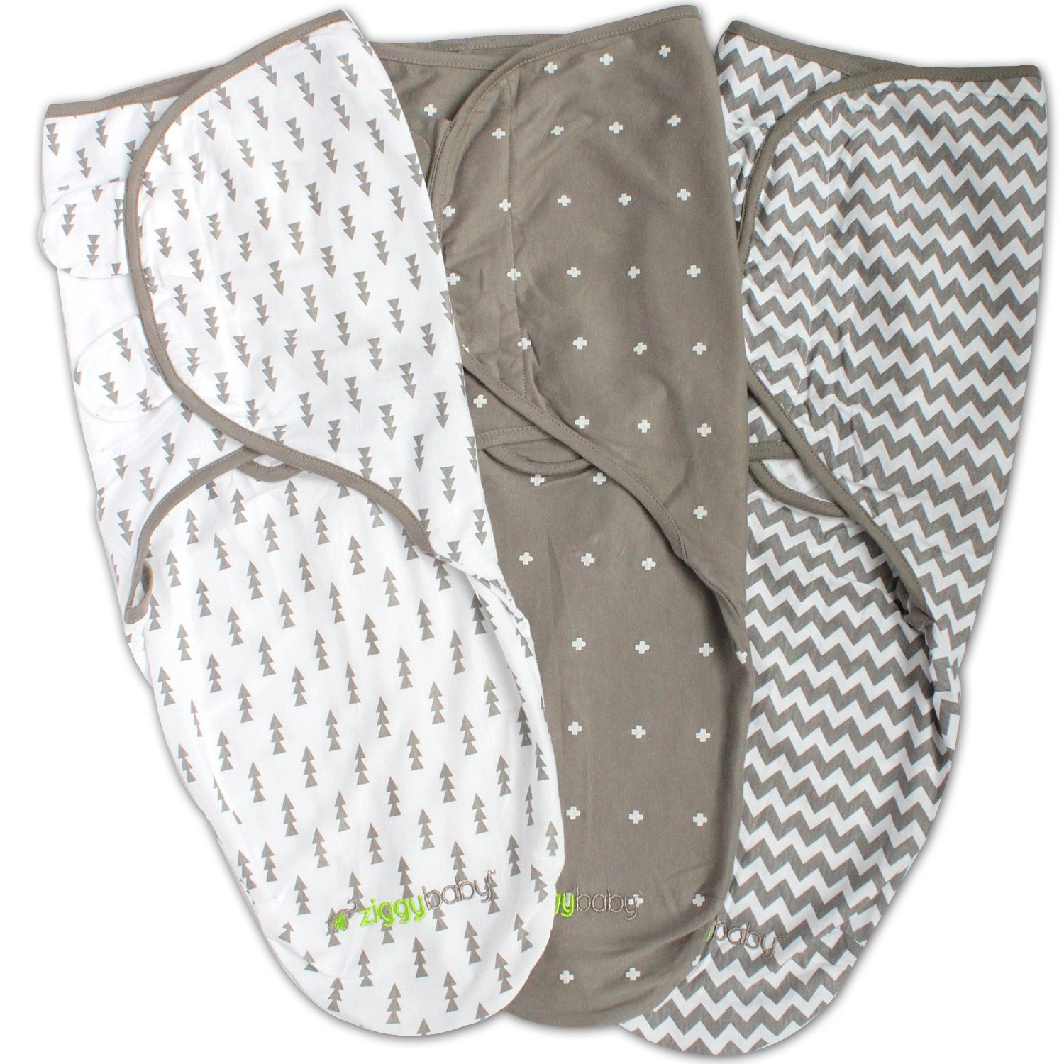 Swaddle Blanket, Adjustable Infant Baby Wrap Set 3 Pack Soft Cotton in Grey by Ziggy Baby