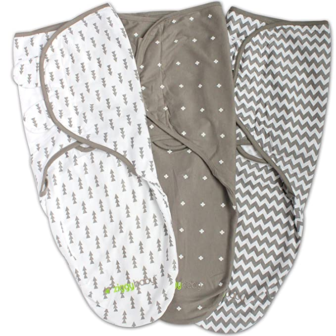 Ziggy Baby Swaddle Blanket, Adjustable Infant Baby Wrap, Soft Cotton in Ultra Grey