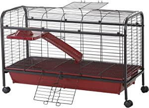 """PawHut 42"""" Metal Wire Small Animal Pet Cage with Wheels - Red and Black"""