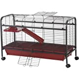 "PawHut 42"" Metal Wire Small Animal Pet Cage with EasyWheels for Portability & Spacious Multi-Level Design, Red and Black"