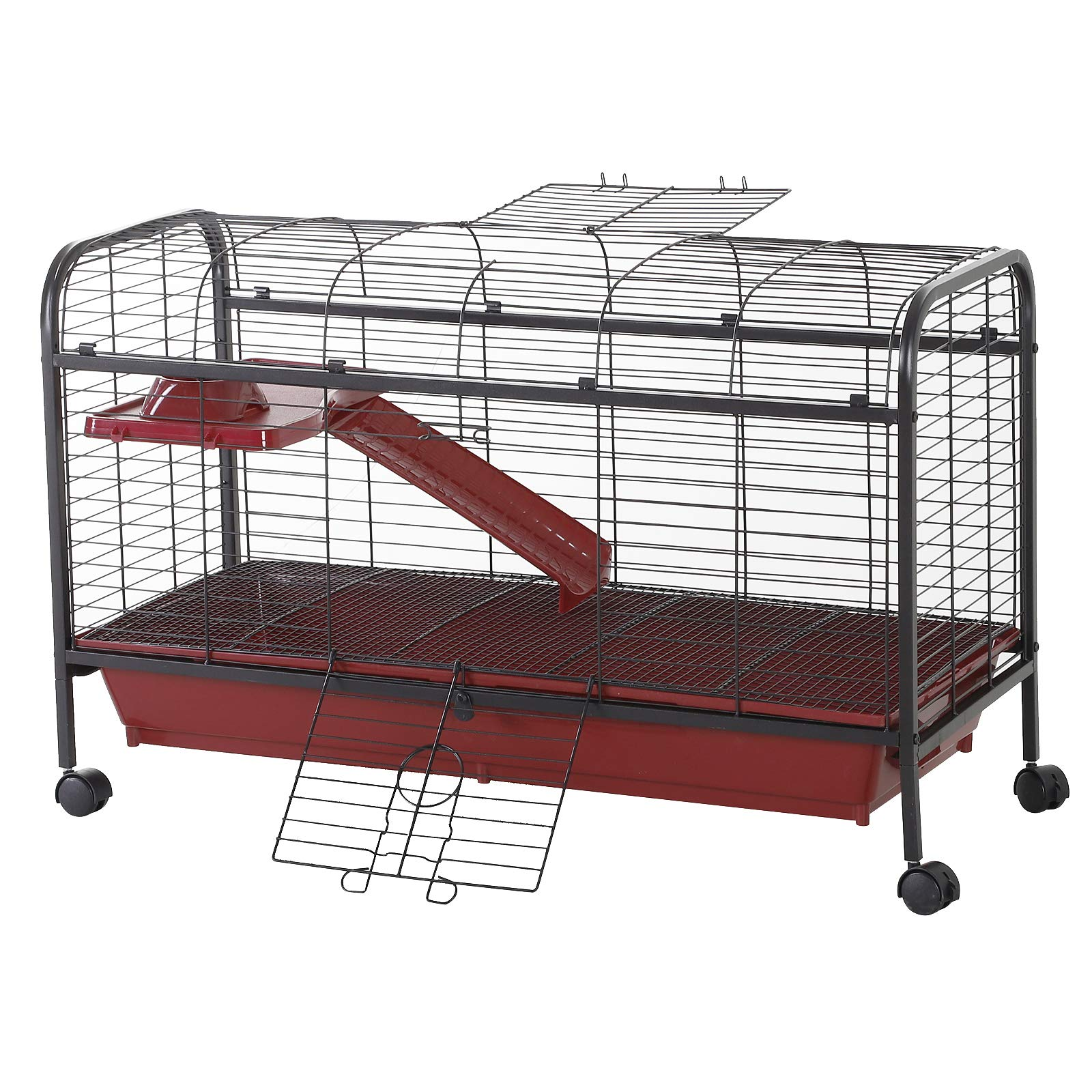 PawHut 42'' Metal Wire Small Animal Pet Cage with Wheels - Red and Black by PawHut