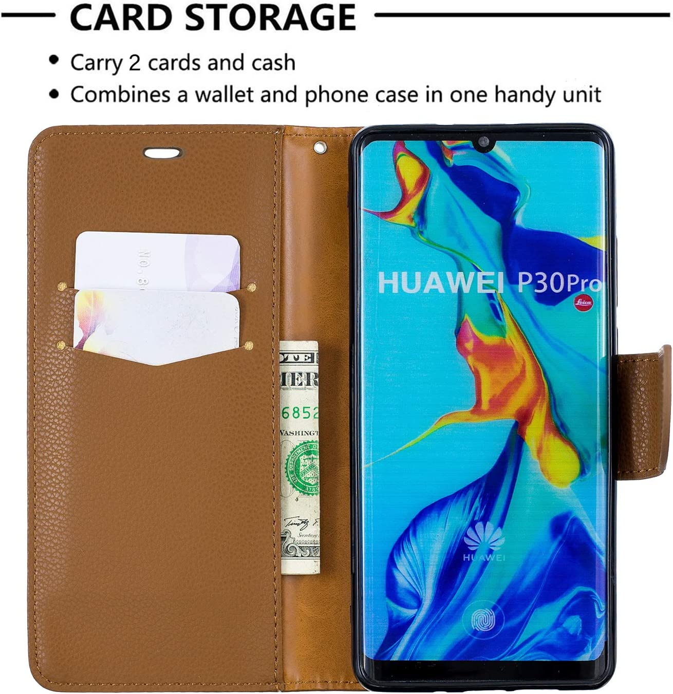 Wallet Case with Card Holder Folding Kickstand Leather Case Flip Cover for Huawei P30Pro Huawei P30 Pro NEXCURIO NEBFE130300 Green